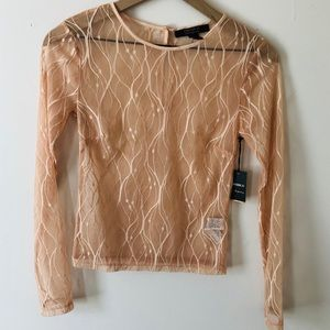 Forever 21 Rose Gold Lace Long Sleeve Blouse